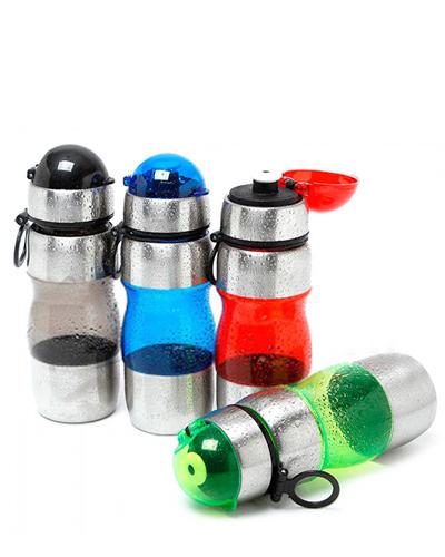 Squeeze de Metal para Brinde Promocional | Squeeze de Inox personalizado. Com detalhes em plástico e inox.